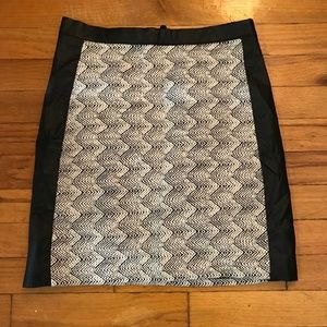 H&M Black white faux leather skirt
